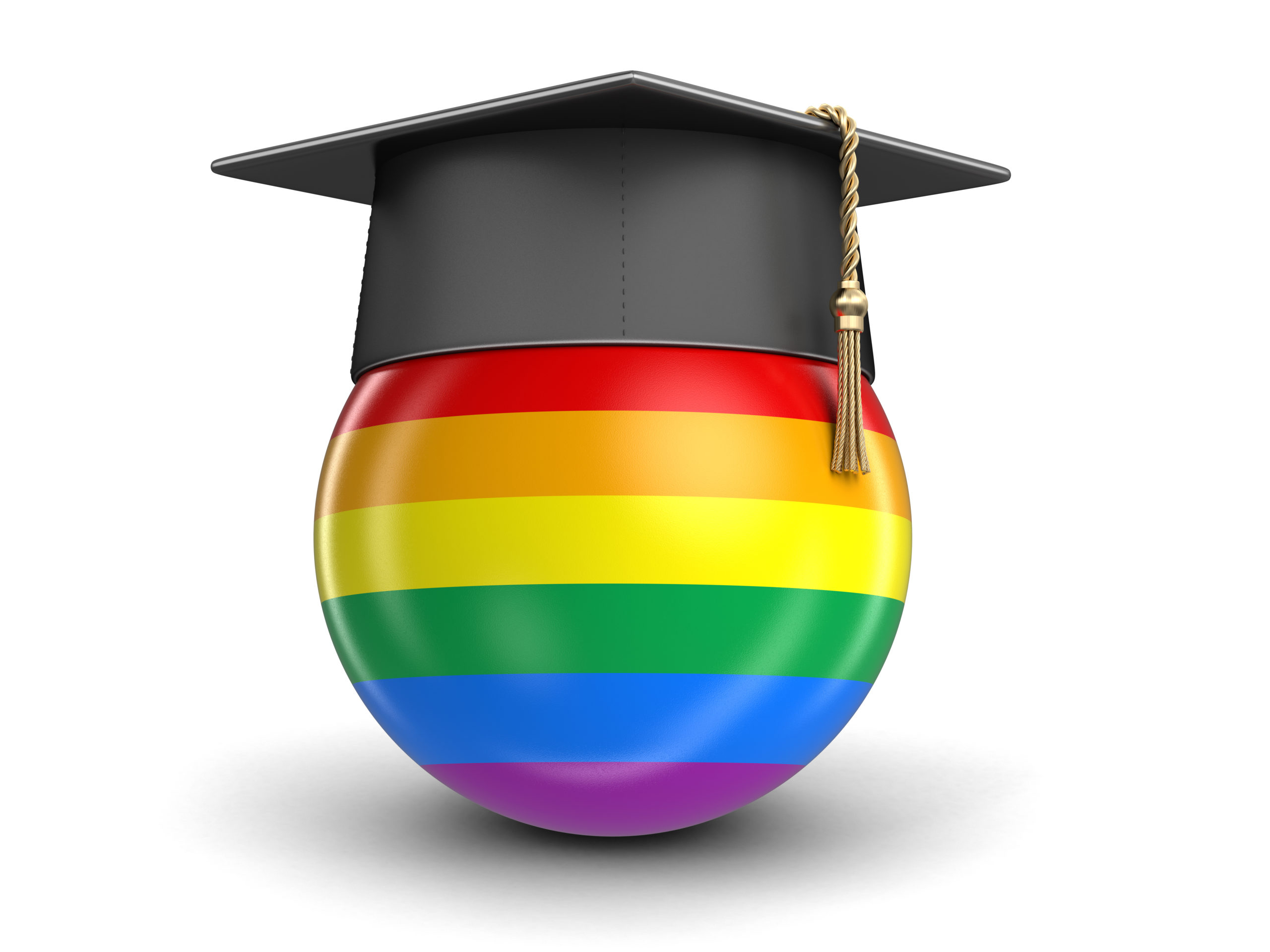 Graduation cap and LGBT flag. Image with clipping path